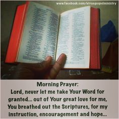 Morning Prayer: Lord, never let me take Your Word for granted... out of Your great love for me, You breathed out the Scriptures, for my instruction, encouragement and hope... #morningprayer #instaquote #quote #seekgod #godsword #godislove #gospel #jesus #jesussaves #teamjesus #LHBK #youthministry #preach #testify #pray #endurance #instruction #encouragement #hope #love