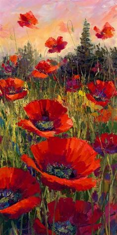 Acrylic Paintings by Jennifer Bowman red poppies in field. picture is long