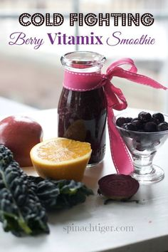 Vitamix recipe: cold fighting smoothie with blueberries, kale, orange, carrot  by angela roberts