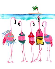 Flamingos in bathing suits Flamingo Art, Pink Flamingos, Flamingo Bathroom, Flamingo Garden, Beach Watercolor, Watercolor Paintings, Watercolors, Watercolor Trees, Watercolor Portraits