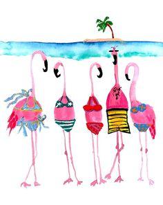 Flamingos in bathing suits Flamingo Art, Pink Flamingos, Flamingo Bathroom, Flamingo Garden, Flamingo Painting, Beach Watercolor, Watercolor Paintings, Watercolors, Watercolor Trees