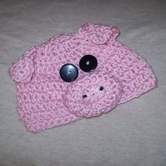 hand-crocheted pig baby hat...for my friends granddaughter...