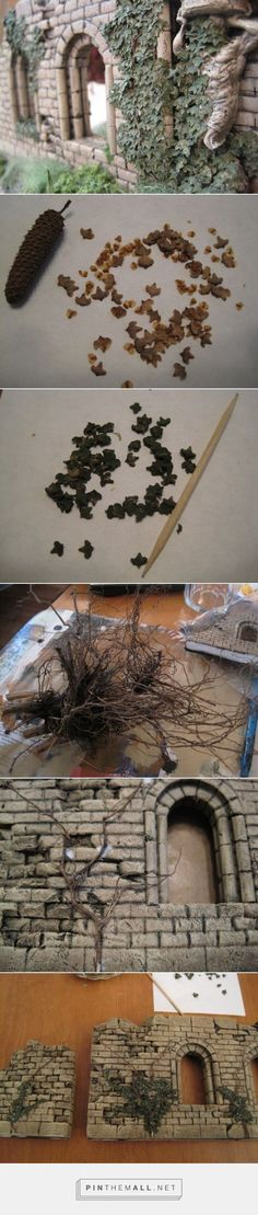 * Making Convincing Ivy « Zaboobadidoo. - a grouped images picture Amazing Amazing Efeu basteln Miniature Plants, Miniature Houses, Miniature Dolls, Warhammer Terrain, Wargaming Terrain, Tiny World, Miniture Things, Fairy Houses, Dollhouse Miniatures