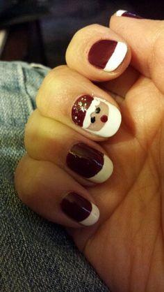 Rich maroon red with Santa nail.