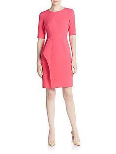 Anne Klein Twill Sheath Dress - Pink - Size 8