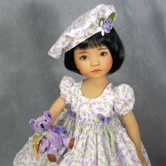 """~ LAVENDER LOVELINESS ~ Smocked Dress Hat Bear Set ~ Effner 13"""" Little Darlings  This set can be found on Ebay beginning July 9th! It ends on Monday, July 14th!"""