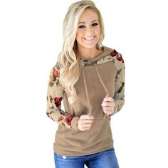 Casual Sweet Cotton Floral Hoodies Sweatshirt for Women Floral Hoodies, Sleeve Styles, Hooded Jacket, Plus Size, Pullover, Sweatshirts, Sweet, Casual, Sleeves