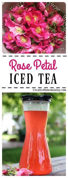 How to make wonderfully refreshing homemade rose petal iced tea from fresh rose petals.