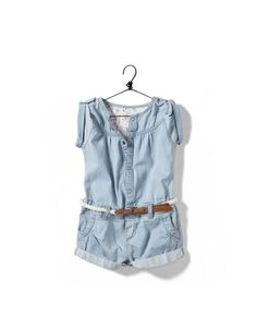 denim jumpsuit with belt - Skirts and shorts - Baby girl (3-36 months) - Kids - ZARA