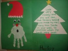 """The card says, """" Look very closely and you will see, that Santa's beard was made by me! Hang this Santa on your wall to remember when my hands were small!"""""""