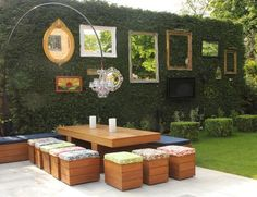 Rustic photo collage frames patio shabby-chic style with picture frames outdoor dining table contemporary garden Cheap Landscaping Ideas, Small Backyard Landscaping, Backyard Patio, Backyard Ideas, Patio Ideas, Garden Ideas, Box Garden, Backyard Privacy, Backyard Designs