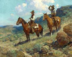 """FRANK TENNEY JOHNSON   Texas Cowboys   Oil on Canvas   24"""" x 30"""""""