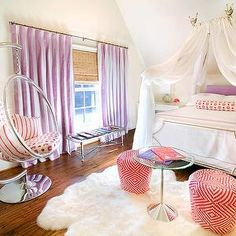 Tracy Hardenburg Designs - girl's rooms - kids bedroom, kids room, cinderella bed canopy, kids bed canopy, purple headboard, white and purple bedding, monogrammed shams, kids bedding, monogrammed kids bedding, mismatched nightstands, purple curtains, white and purple curtains, white and purple drapes, vertical striped curtains, vertical striped drapes, bubble chair, acrylic bubble chair, white and pink stools, glass top table, sheepskin rug, kids beds,