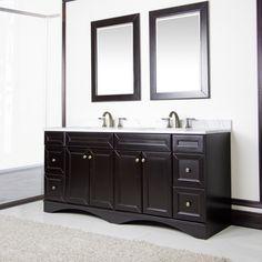 Espresso and Italian Carrera Marble 72-inch Double Sink Vanity by Sirio | Overstock.com Shopping - Great Deals on Sirio Bathroom Vanities