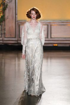 Vintage-inspired sheath wedding dress with beading, embellishments and sheer billow sleeves by Claire Pettibone, Bridal Gowns, Wedding Dresses, Whimsical Wedding, Fall 2016, Vintage Inspired, Embellishments, Beading, Runway