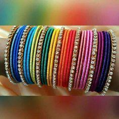 Eid Mehndi Designs for Girls Bangles Silk Thread Bangles Design, Silk Bangles, Bridal Bangles, Hand Accessories, Bangle Set, Bangle Bracelets, Indian Jewelry, Indian Bangles, Jewelry Patterns