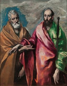 Doménikos Theotokópoulos (El Greco) painting of Saint Peter and Saint Paul at Museu Nacional d'Art de Catalunya St Peter And Paul, Grand Palais, Printmaking, Canvas Art, Canvas Size, Art Prints, Artwork, San Pablo, Spanish Painters