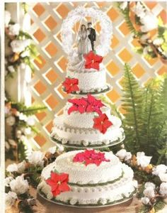 See some ideas and suggestions on cake decoration for your holiday wedding theme. Holiday Wedding Themes, Christmas Wedding Cakes, Holiday Decor, Dream Wedding, Wedding Dreams, Wedding Stuff, Some Ideas, Poinsettia, Cake Decorating