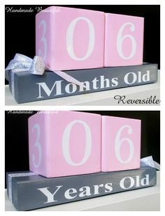 Cute Nursery room birthday counter blocks. this makes a perfect gift. Custom made to order over at Handmade Beautiful on facebook.