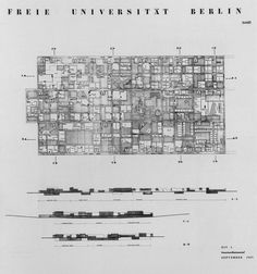sheslostctrl: Free University of Berlin, Germany by Candilis-Josic-Woods. Architecture Drawings, Modern Architecture, Sections Architecture, Section Drawing, Model Sketch, Building Section, Architectural Section, Urban Planning, Berlin Germany