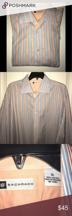 EUC💚BACHRACH💚Stripe Open Collar French Cuff EUC💚BACHRACH💚Stripe Open Collar Button Down French Cuff Dress Shirt. Size-XL . 100 % Cotton. Orange/ Blue / White. Original cost $135 Bachrach Shirts Dress Shirts