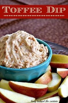 Toffee Dip: WARNING! This toffee dip is addictive! Double the recipe and your guests will keep coming back for more. Serve with apple slices. Tastes like a caramel apple without the chewy sticky mess.