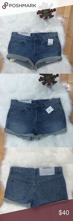 """Urban Outfitters BDG NWT Cuffed Denim Shorts No holes or stains. NWT. Are cuffed but can be rolled higher for a cheeky look. 5 Pocket style. Has 5 buttons up the front but only 1 is visible. 100% cotton. 15.5"""" waist across: 10"""" Rise: 19"""" hip to hip: 3"""" Inseam: no trades. Urban Outfitters Shorts Jean Shorts"""