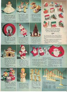 Decorations from the Sears Christmas Catalog, 1966 Old Christmas, Old Fashioned Christmas, Antique Christmas, Christmas Books, Retro Christmas, Christmas Crafts, Christmas Decorations, Vintage Decorations, Christmas Scenes