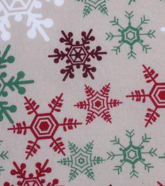 Holiday Showcase™ Christmas Cotton Fabric 43''-Snowflakes on Ivory