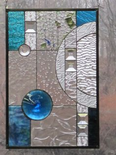 Stained Glass Blue Geometric Panel by RenaissanceGlass on Etsy, $195.00