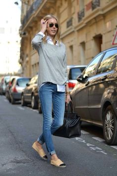 blue jeans + knit + chanel espadrilles