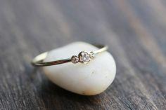 Three Brilliant Diamonds In 14k gold,Diamond Thin Band Ring,14k Yellow Solid Gold Diamond Ring, 3stones Diamond ring on Etsy, $250.00