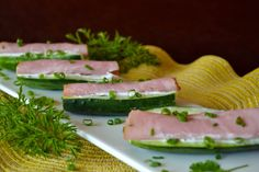 Cucumber Subs - cheese spread, deli meat, cucumber