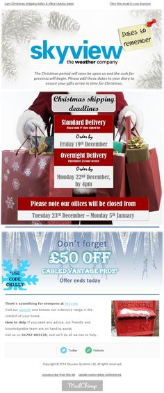 Skyview eNews Novemeber 2014: Christmas shipping dates to put in your diary.