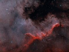 The North America nebula on the sky can form stars. Specifically, in analogy to the Earth-confined continent, the bright part that appears as Central America and Mexico is actually a hot bed of gas, dust, and newly formed stars known as the Cygnus Wall. The above image shows the star forming wall lit and eroded by bright young stars, and partly hidden by the dark dust they have created.