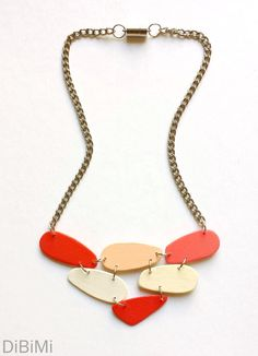 modern necklace  geometric necklace  wooden necklace in by dibimi