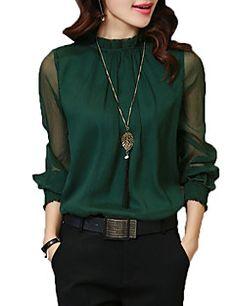 Mujer+Vintage+Sofisticado+Formal+Trabajo+Para+Todas+las+Temporadas+Camisa,Escote+Chino+Un+Color+Manga+Larga+Rayón+Poliéster+–+COP+$+81.767