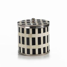 """Côte d'Ivoire Bone and Horn Inlay Ice Bucket with Lid  Dimensions: 7"""" x 8"""""""