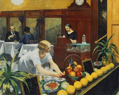 "Edward Hopper (American, 1882–1967). Tables for Ladies, 1930. The Metropolitan Museum of Art, New York. George A. Hearn Fund, 1931 (31.62) | ""Tables for Ladies"" places the viewer directly outside the front window of an ordinary restaurant in New York City. #newyork #nyc"