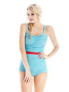 Ann in seaspray retro one piece swimsuit