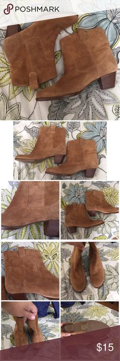 Faux suede booties Every girl needs a pair of ankle boots! These are so cute, but sadly I'm reselling them. They're too tight on my wide feet. Best for someone with a narrow foot. Have a few small spots, as shown in photos, but they add a rugged look to them. They're a little above the ankle.    ❌No trades/swaps ❌No PayPal Pet friendly home I ship M, W, & F Smoke free home  ❗️24 hour reservations  Bundle 2+ items for a discount Liz Claiborne Shoes Ankle Boots & Booties