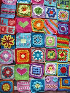 Blogged at www.woolnhook.com Designs from 100 Colorful Granny Squares to Crochet (US edition) / 100 Bright and Colourful Granny Squares (UK edition)