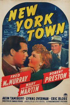 New York Town Old Movie Posters, Original Movie Posters, Movie Poster Art, Film Posters, Vintage Posters, Old Movies, Vintage Movies, Preston Sturges, Mary Martin
