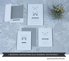 I am majorly obsessed with chevrons in invitation design. It's so simple, yet so bold... via greenweddingshoes.com