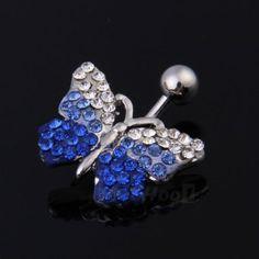 Piercing de ombligo - Mariposa con cristales azules