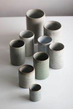 A selection of thrown cylinders, with a selection of crackle, chun and celadon glazes.