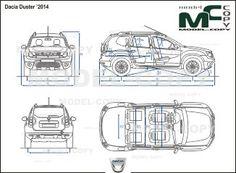 Dacia Duster '2014 - drawing (ai, cdr, cdw, dwg, dxf, eps, gif, jpg, pdf, pct, psd, svg, tif, bmp)