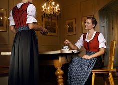 Traditional dirndl in the regional colours of Upper Austria