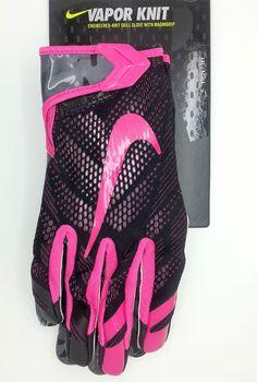 NIKE VAPOR KNIT MAGNIGRIP BLACK/PINK FOOTBALL GLOVES PAIR (ADULT XXL) -- NEW #Nike