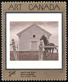 Canada Post - 2002 -Masterpieces of Canadian Art, Church and Horse, by Alex Colville Alex Colville, Canadian Painters, Canadian Artists, Timbre Canada, Postage Stamp Art, Art Programs, Art Series, Mail Art, Stamp Collecting
